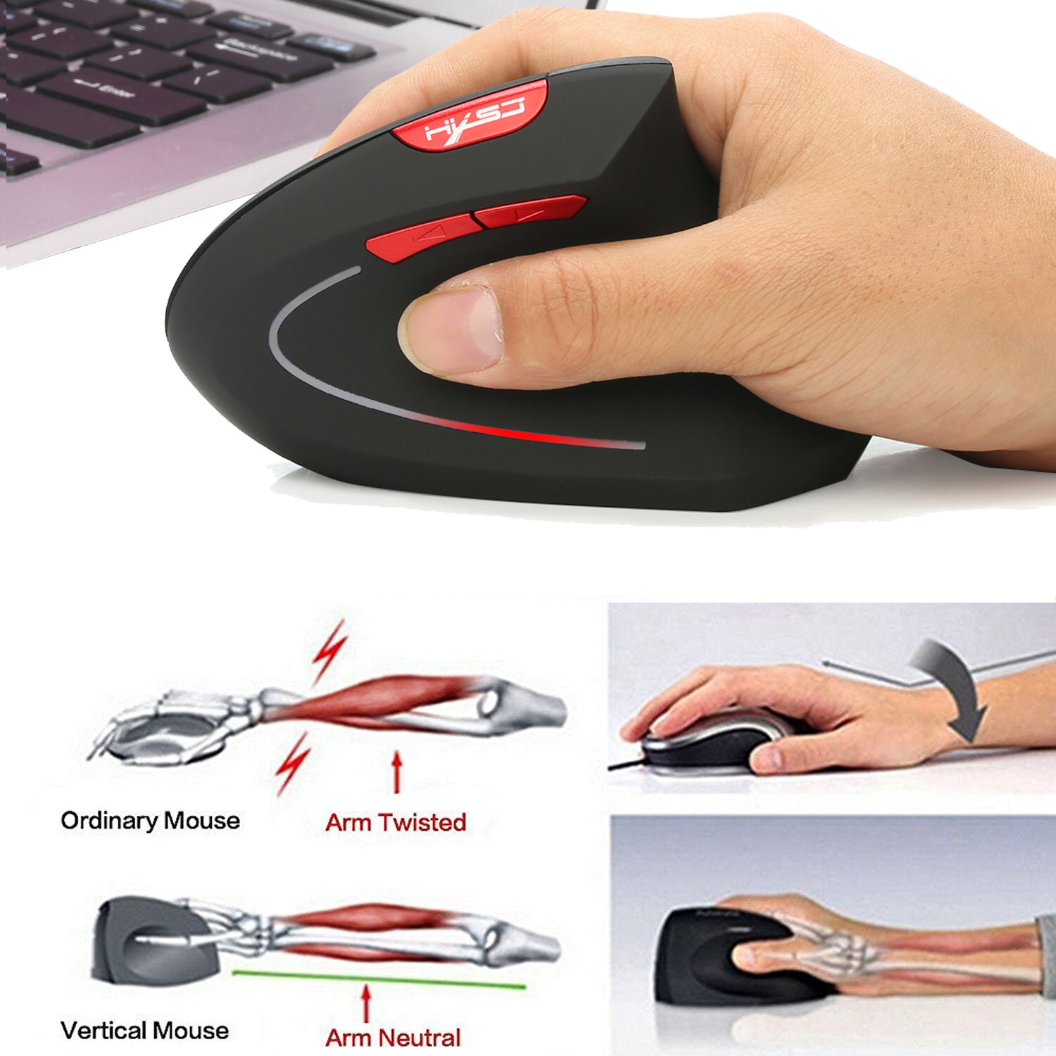 Fashion Wireless Bluetooth 3.0 Mouse 3 Speed DPI Adjustable For Laptop Computer Tablet Optical Laser Vertical Mouse For Macbook