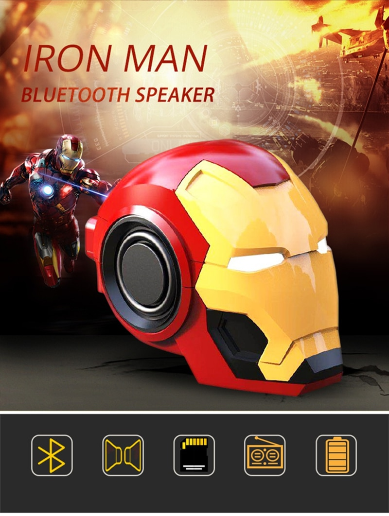 Mobile phone Speakers Bluetooth V4.2 Iron Man Bluetooth Speaker Subwoofer With FM Radio Support TF Card For Phone PC Speaker